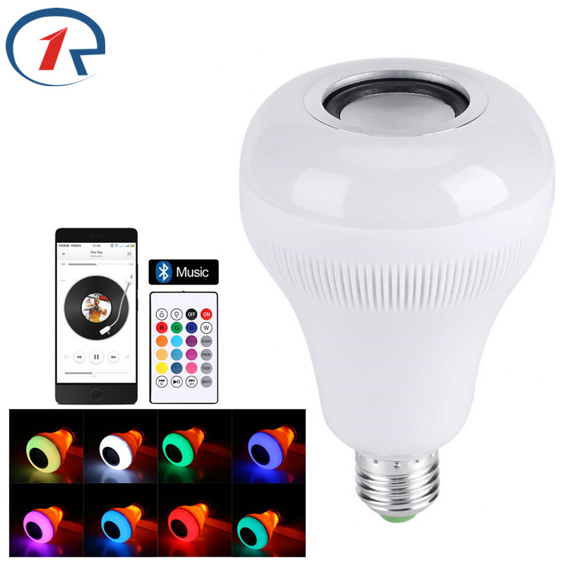 ZjRight Wireless Bluetooth Speaker E27 LED RGBW Music Flame Bulb IR Remote Lamp Smart led RGBW Music Player Audio Lighting bulb szyoumy e27 rgbw led light bulb bluetooth speaker 4 0 smart lighting lamp for home decoration lampada led music playing
