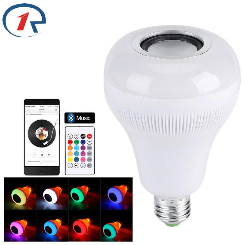 ZjRight Wireless Bluetooth Speaker E27 LED RGBW Music Flame Bulb IR Remote Lamp Smart led RGBW Music Player Audio Lighting bulb