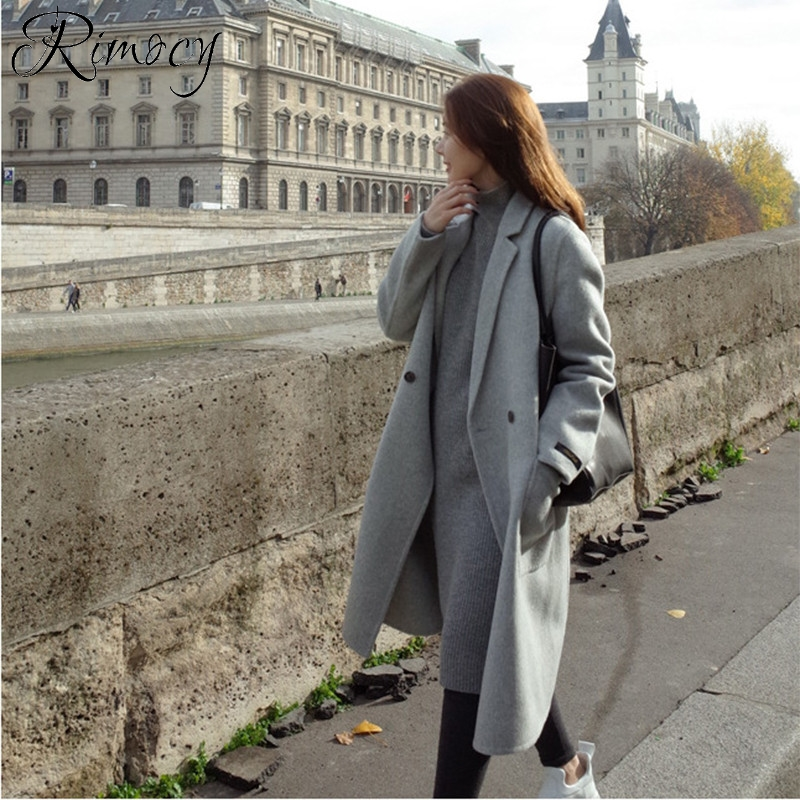 e030ad6615b Aliexpress.com   Buy Rimocy 2018 winter new trench coat plus size ladies  turn down collar long coat women wool coat woman mujer elegant warm jacket  from ...