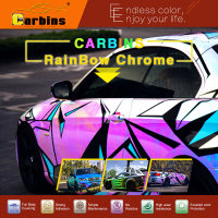 Carbins Film rainbow chrome vinyl car wrap white and blue color sticker, new vinyls Neon chrome
