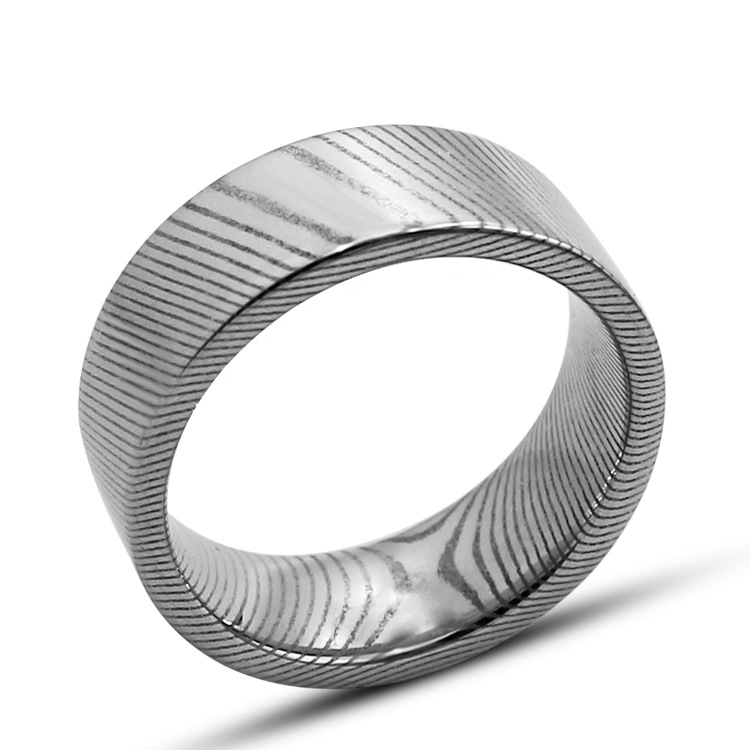 UFOORO Natural Damascus Thousand Layers Pattern Titanium Stainles Steel Round Finger Ring For Women Men Simple Fashion Gift