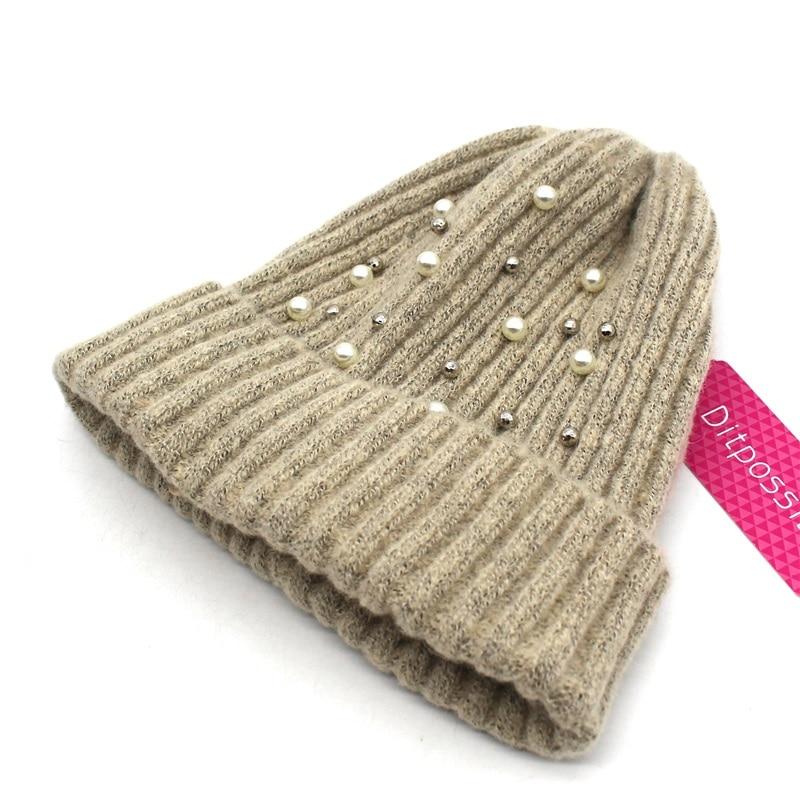 Ditpossible moda perla sombrero hecho punto Otoño Invierno niñas ...