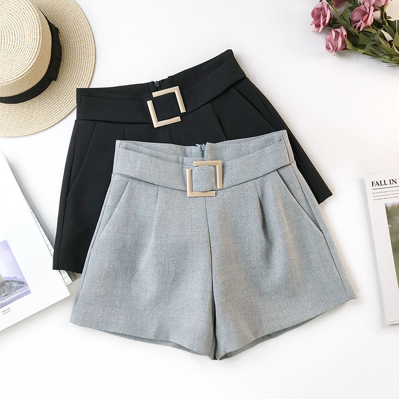 2019 Spring High Waist Wide Leg Shorts A Word Was Thin Casual Bottoming Wear Wild Black Fashion Hot in Shorts from Women 39 s Clothing