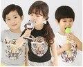 Big Sale Children Summer T Shirts Fashional Tiger Wearing Glasses Print Kids Cotton T Shirt Boys&Girls Short Sleeve Tees