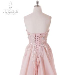 Image 5 - ไม่มี Illusion Bodice ประณีต Bodice ทรัฟเฟิลรูปแบบดอกไม้ลูกไม้ Lace up Back Light สีชมพูพรหมชุด 2018
