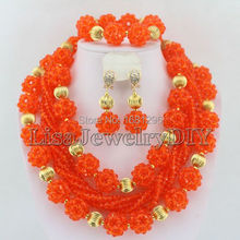 Fashion Crystal Ball Costume Jewellery Nigerian Wedding African Beads Jewelry Set HD0589