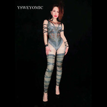 New Style Long Sleeves Rhinestones Printed Jumpsuit Women Jazz Dance Black Bodysuit Outfit Evening Show One-piece Birthday Wear(China)