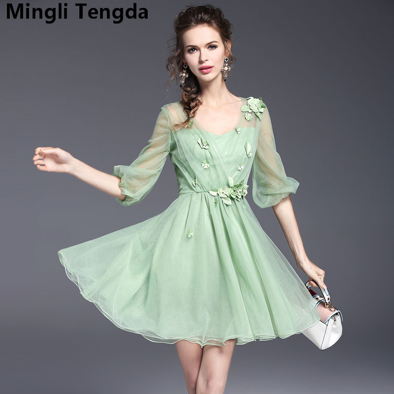 Mingli Tengda Green Tulle   Bridesmaid     Dress   Short Flowers   Bridesmaid     Dresses   2018 Elegant   Dresses   for Wedding Party V Neck   Dress