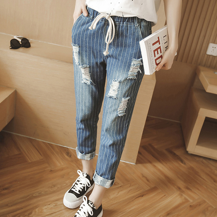 Wangcangli new jeans Large size jeans women fat striped hole nine pants rope elasticity was thin pants bar iii new black beige chevron striped women s size large l knit top $39