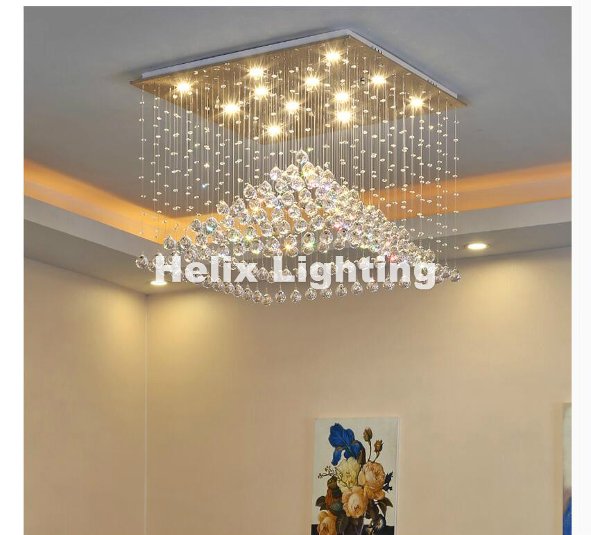 Free Shipping Modern Square Shaped Luxury European Top K9 Clear Crystal Pendant Light Hotel Hall Living Room K9 Crystal Lighting