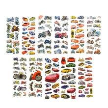 10 sztuk/partia Bubble naklejki 3D Cartoon samochodów motocykl naklejki laptop naklejki księga gości naklejki telefon komórkowy dla dzieci