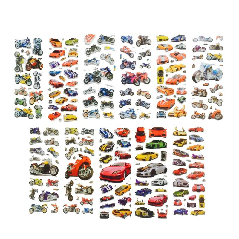 10Pcs/lot Bubble Stickers 3D Cartoon Car Motorcycle Stickers Laptop Sticker  Scrapbook Mobile Phone Stickers For Children