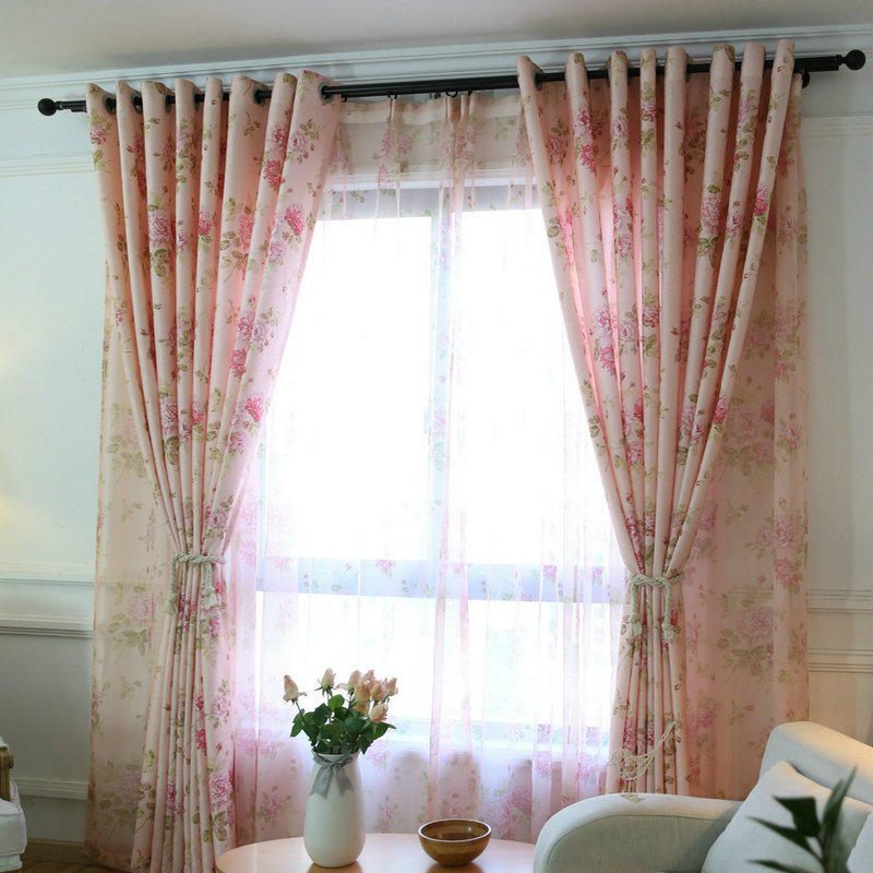 US $4.3 39% OFF|Floral Curtains For Living Room Window Bedroom Pink Small  floral Half Blackout Curtain For Little Girl Balcony Burnout Curtain-in ...