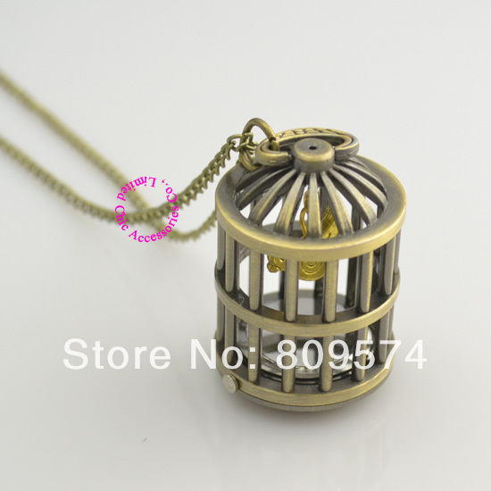 wholesale buyer price good quality girl lady women  bronze bird cage birdcage pocket watch necklace & pendants chain hour
