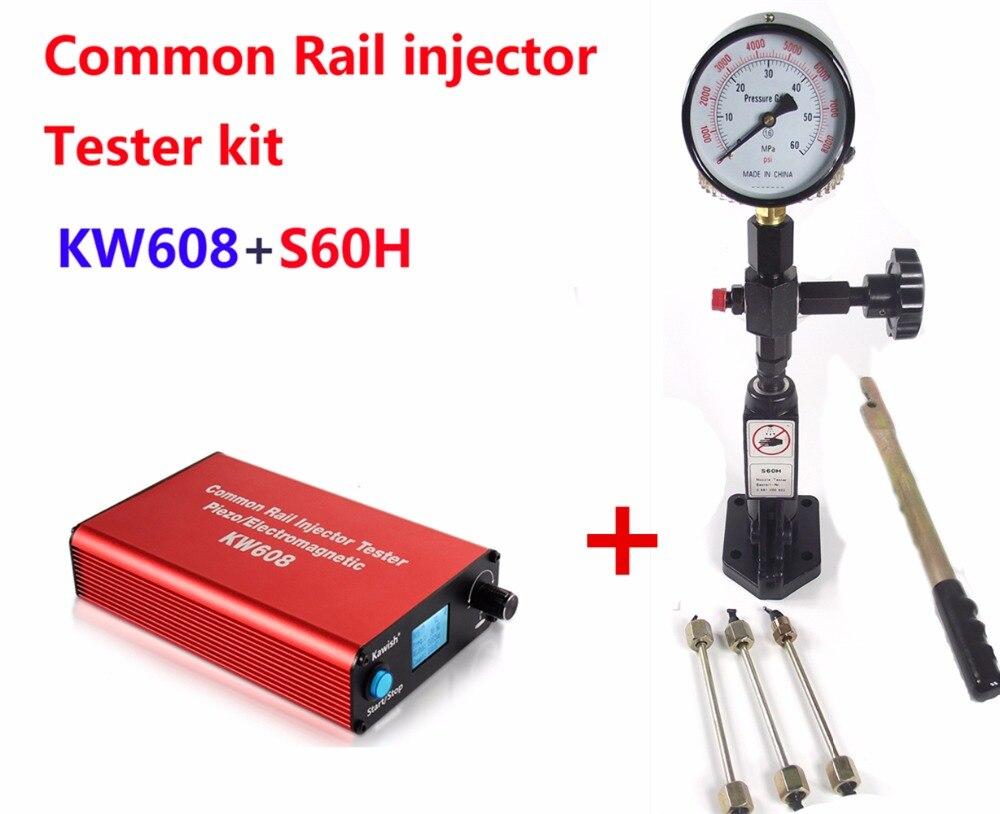 Bateau gratuit! Testeur d'injecteur à rampe commune KW608 diesel multifonction USB testeur D'injecteur + S60H Buse D'injecteur à Rampe Commune testeur