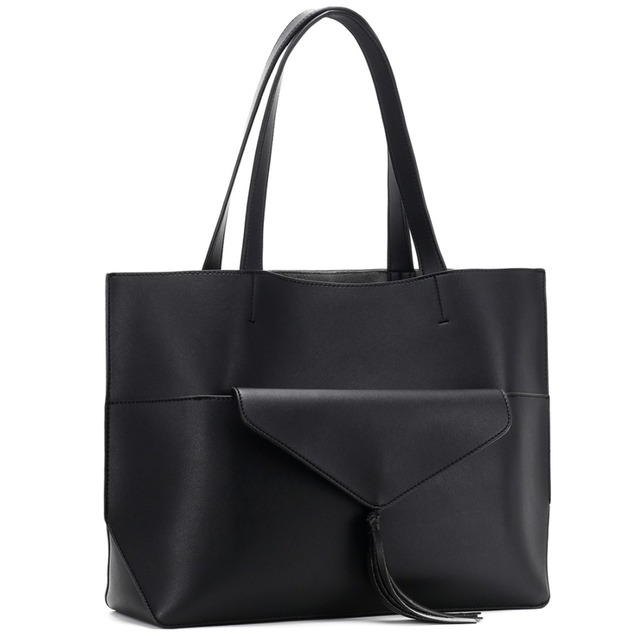 Alnaue Women PU Leather Handbags Black Tote Bag Matching