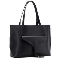 Alnaue Women PU Leather Handbags Black Tote Bag Matching Wallet Satchel Shoulder Bags