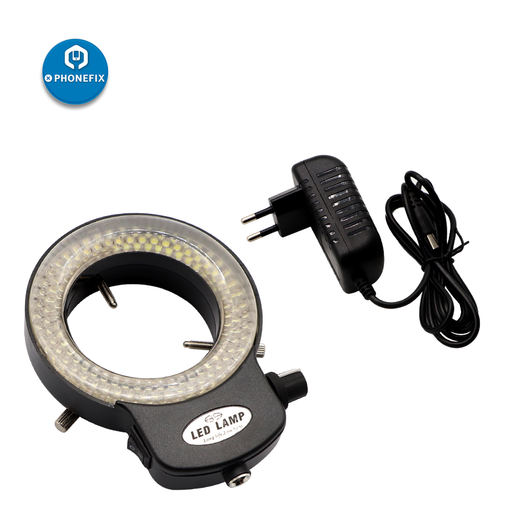 Adjustable 144 LED Ring Light Illuminator Lamp For Industry Stereo Microscope Digital Camera Magnifier With AC Power Adapter