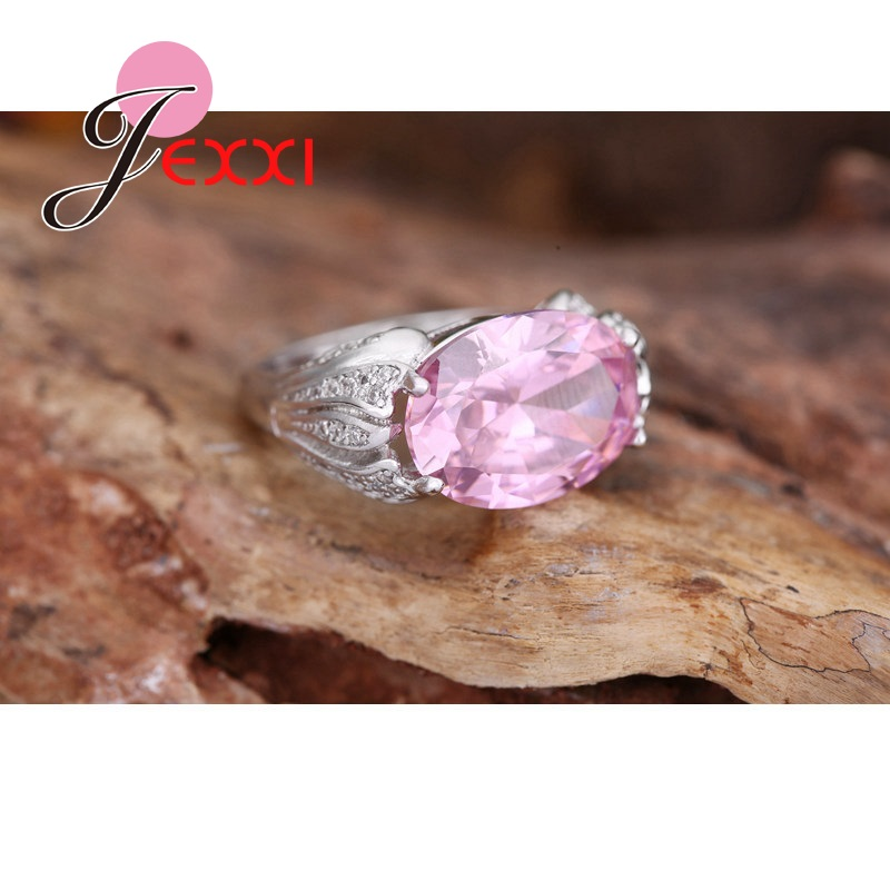 JEXXI Charm Wedding Promise Engagement Rings Fashion Jewelry 925 Sterling Silver Finger Accessories Oval Cut Pink CZ Crystal