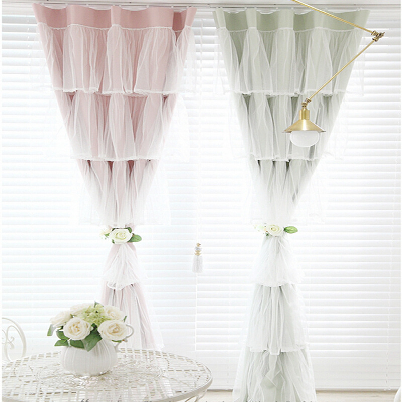 Moderne doux 3D rideaux pour princesse chambre occultant dentelle pure rideaux pour fille enfant chambre fenêtre femme rideau salon