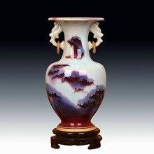 Jingdezhen ceramics Jun Jun porcelain vase ears landscape pattern ring bottle Home Furnishing handicrafts. купальник jun fly