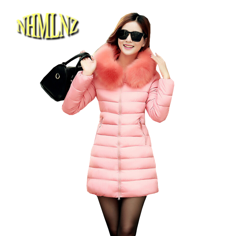2017 Winter Overcoat New Fashion Women jacket Hooded Fur collar Warm Thicken Cotton Coat Big yards Slim Medium long Coat G1827 2014 new arrival rushed full women winter luxurious overcoat raccoon fur collar medium long hooded down jackets thicken coat ems