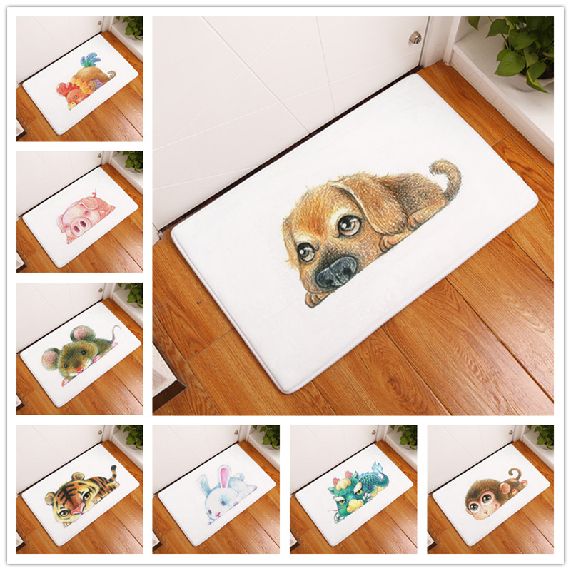 New Cartoon Style Modern Print Carpets Anti Slip Floor Mat Outdoor Rugs  Lovely Animal Front