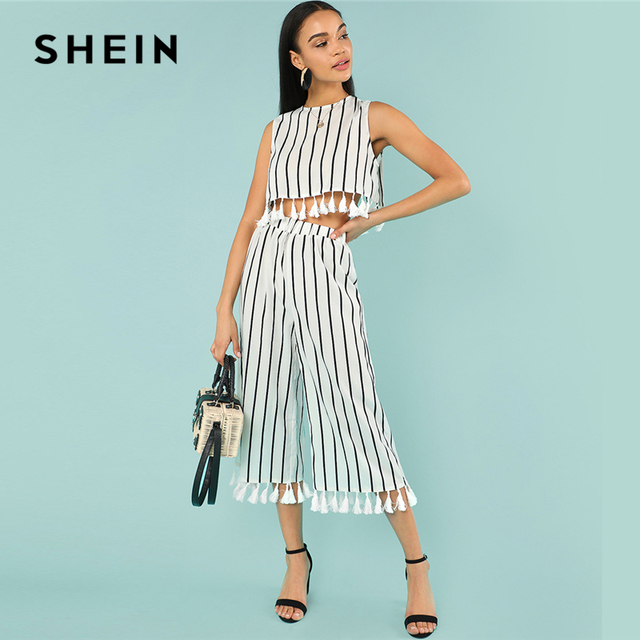 SHEIN Tassel Trim Striped Shell Top And Culotte Pants Set Round Neck Crop  Top With Wide Leg Trousers Woman Vacation Twopiece 76d9d71068e6