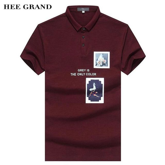 HEE GRAND Men Polo Shirt 2017 New Fashion Pattern Print Decoration Whole Cotton Material Slim Fitted Male Polo Shirts MTP411