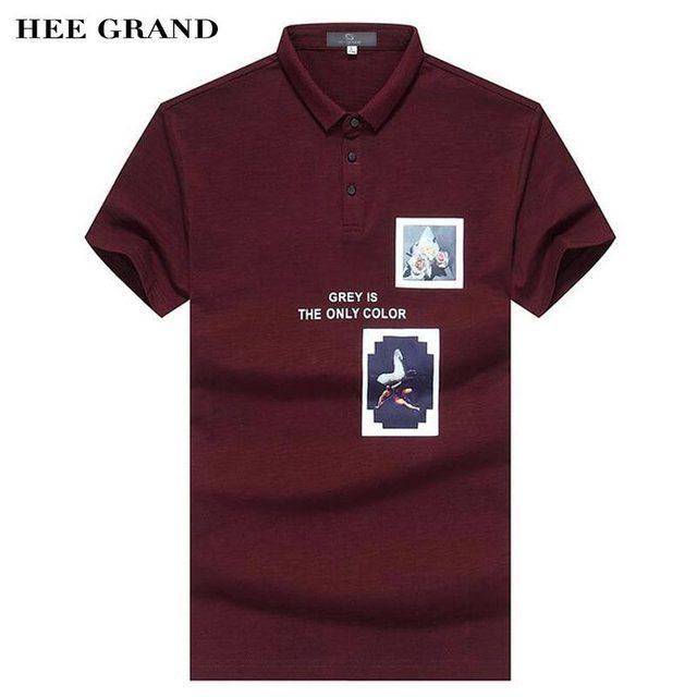 Hee grand hombres polo camisa 2017 nueva moda patrón de impresión decoración material de algodón conjunto delgado equipada hombre polo camisas mtp411