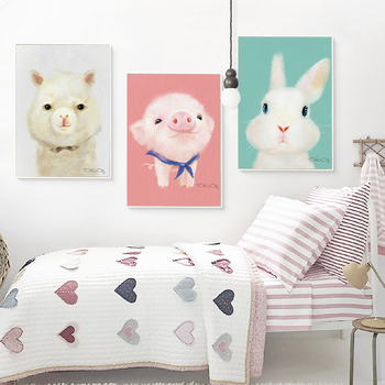 Three farm animals canvas print set for nursery
