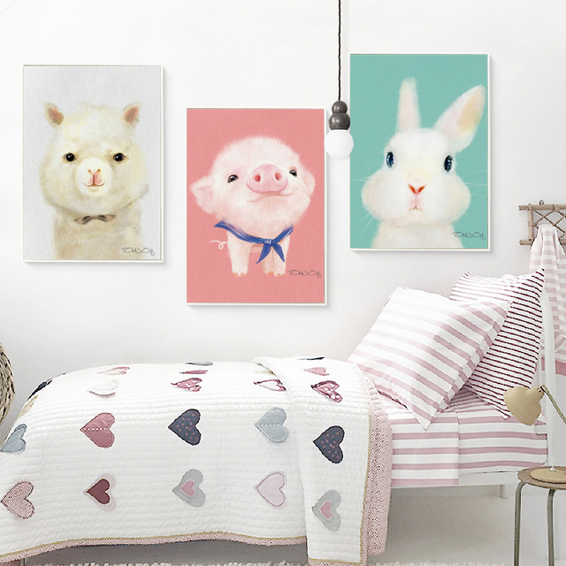 Three farm animals canvas print set for nursery