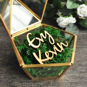 Image 2 - Personalizado Pentagon joyero anillo portador almohada, rústico anillo de boda titular caja propuesta regalo de compromiso