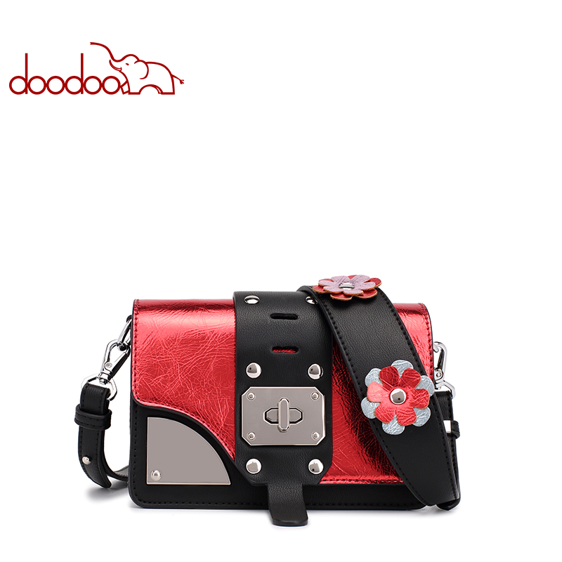 Doodoo Fashion PU Leather for Women Bags Soft Wide  Messenger bag Brand Designer Handbags Crossbody Ladies Shoulder Bags