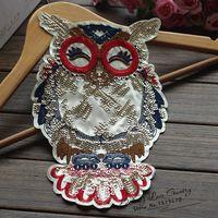 Free shipping size 30*17cm (5pcs/lot) Gold Sequined owl Lace Applique sequin clothes appliques
