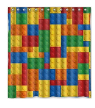2015 Custom Colorful lego block Waterproof Polyester Fabric Shower Curtain Bathroom Home Decro Size 150x180cm Freed Shipping &95