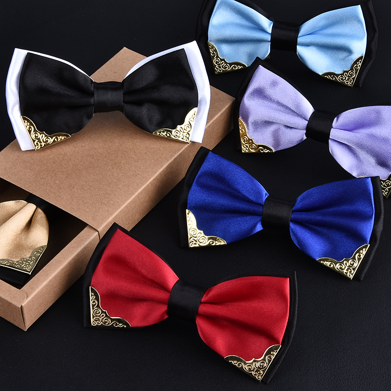 High Fashion Bow Tie For Men Bridegrooms Businessmen Commercial Metal Decoration Two tone Wedding Party Club