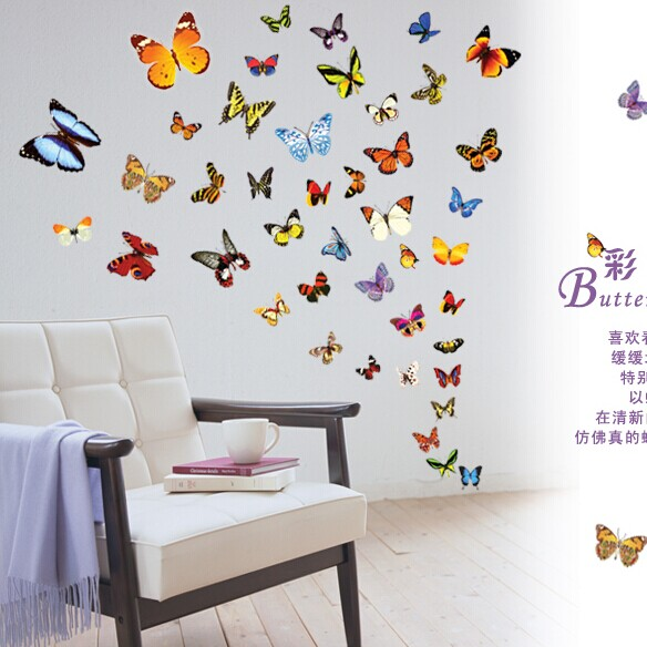 Buy 80 butterfly wall stickers for kids - Stickers para decorar paredes ...