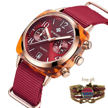 Red Nylon Strap Style Quartz Women Watches WWOOR Top Brand Casual Chronograph Fashion Lady Sports Watch Date with Free Gift(China)