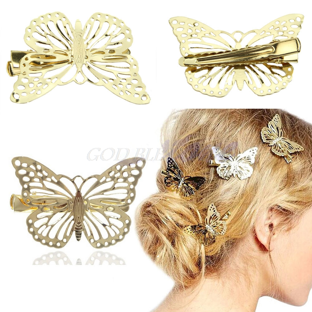 Women Shiny Pretty Butterfly Hair Clip Headband Hair Accessories Headpiece
