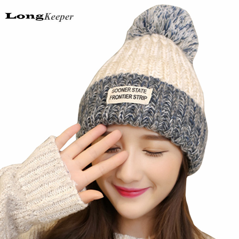LongKeeper Ladies' Winter Caps 2017 New Fashion Knitted Warm Woolen Hats Knitted Cap For Woman Letter Skullies & Beanies Gorros 2016 new fashion letter gorros hats bonnets