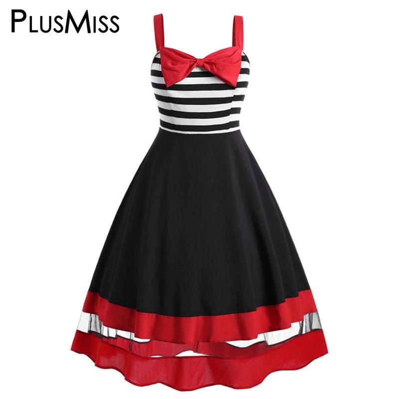 PlusMiss Plus Size 5XL Bowknot Striped Vintage A Line Dress Women Big Swing Sleeveless Cami Party Dresses XXXXL XXXL XXL