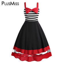 PlusMiss Plus Size 5XL Bowknot Striped Vintage A Line Dress Women Big Size Swing Sleeveless Cami Party Dresses XXXXL XXXL XXL plus floral print striped cami dress