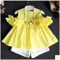 2016 new summer baby Girls Kid T-shirt+shorts 2pcs Suits  Fashion princess Floral comfort Children Clothing 20W
