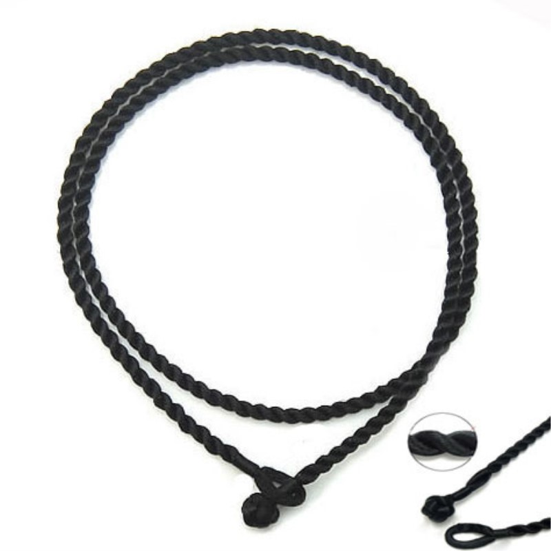 "300pcs/lot 2mm black 18"" Silk Cord Twist Thread Necklace Fit European Charms beads/pendant jewelry accessories-in Jewelry Findings & Components from Jewelry & Accessories    1"