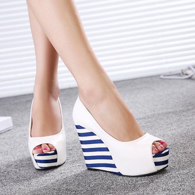 Mujeres del vestido ocasional plataforma cuñas elegantes zapatos de ...