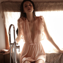 Liść koronkowa przezroczysta, cienka siateczka uwodzicielska snu Ruffles satynowe koszule nocne sukienka do spania kobiety seksowna bielizna nocna lotos