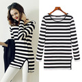 High Quality 2016 New Women's Tops O-Neck T-Shirt Long Sleeve Striped Black and WhiteT Shirts Black And White Tees