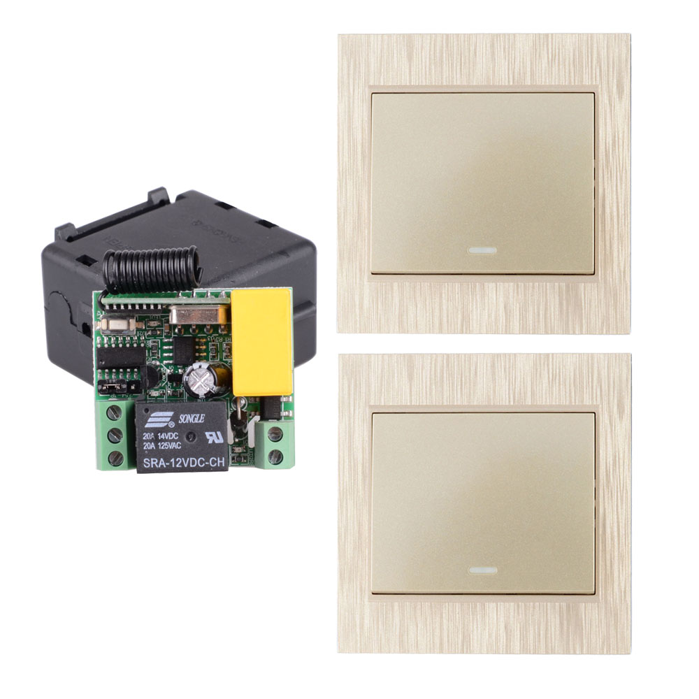 AC 220V 1CH 2CH 3CH 10A RF Wireless Remote Switch Wireless Light Switch + Gold  Wireless Transmitter Wall Panel Remote ControlAC 220V 1CH 2CH 3CH 10A RF Wireless Remote Switch Wireless Light Switch + Gold  Wireless Transmitter Wall Panel Remote Control