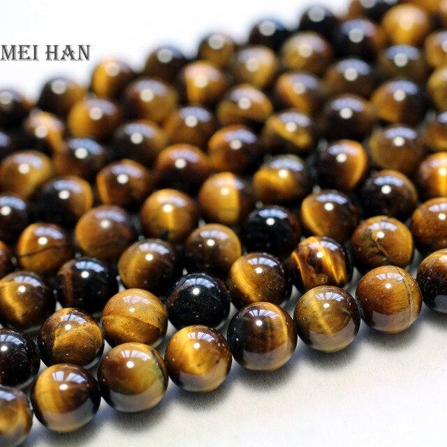 8 Meihan Frete grátis mm (3 2strands/set) soomth natural brown tiger eye rodada contas de pedra para fazer jóias